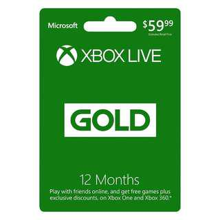 Xbox Live GOLD Subscription XBOX LIVE GLOBAL(REGION FREE) 12 Months