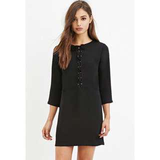 🚚 F21 Black Shift Dress with Lace-up Detail
