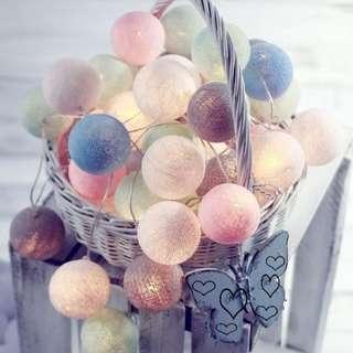🚚 【SA】🔥現貨快速出貨🔥溫馨浪漫彩燈♡泰國LED棉線球串燈♡USB三公尺20燈♡馬卡龍
