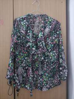 Atasan bahan sifon bunga fit to M