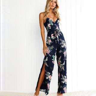 Floral Jumpsuit / romper / dress like with slits
