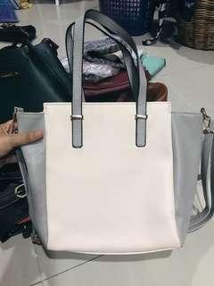 Cream light pink & grey Handbag