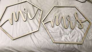 """Wedding Solemnization Chair Signage """"Mr & Mrs"""" (rental)"""
