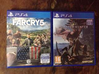 Monster Hunter World (SOLD) and Far Cry 5 PS4 R3