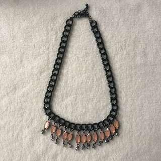 Black Necklace with Peach Petal Drops