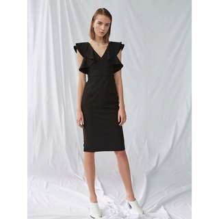 00fa1f99e4 Collate Flounce Shoulder Fitted Dress