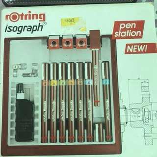 Rotring Isograph pen station set