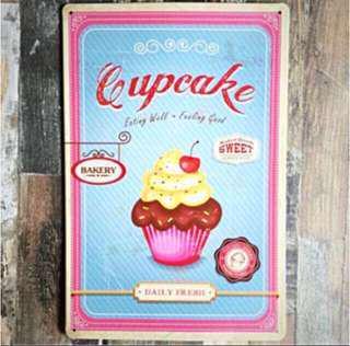 Vintage Tin Plates, Coffee Series, Cupcake, A4