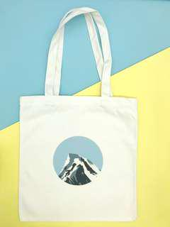 White Canvas Graphic Tote Bag (Blue Mountain)