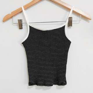 🚚 Black and White Outlined Striped Cami Ribbed Tank Top