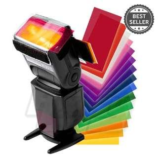 12 piece Flash Color Lighting Pop up flash diffuser soft box Filter Gel Color card for flash speedlite Canon Nikon Sony YONGNUO VILTROX