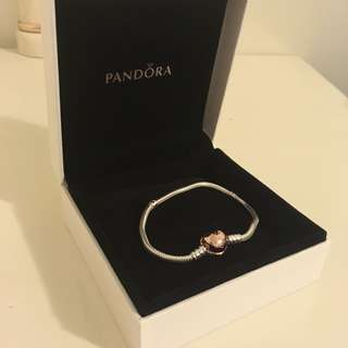 Pandora rose moments silver bracelet with rose heart clasp