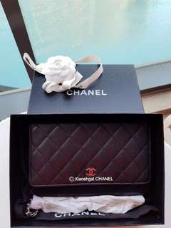 🔴AUCTION ▶️ My Followers!🔴🌟With Receipt🌟🚫Non Followers No Bid🚫🖤 Black Caviar (Always Out of Stock)🖤👜CHANEL Wallet on chain (WOC) sling bag crossbody pouch clutch handbag💋No Pet No Smoker CLEAN Hse💋