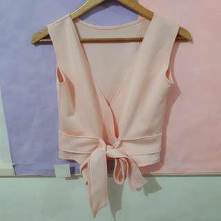 Peach Ribbon Crop Top