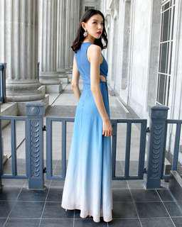 🚚 Dawn Pastel Blue Ombré Dress
