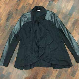 Black jacket with leather sleeves