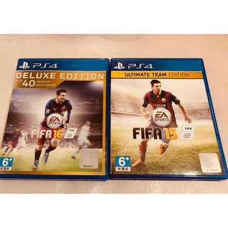 【套裝+包郵】PS4 FIFA 16(DELUXE EDITION) +  FIFA 15 (ULTIMATE TEAM)