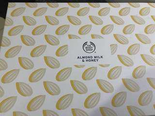The body shop almond milk and honey gift pack