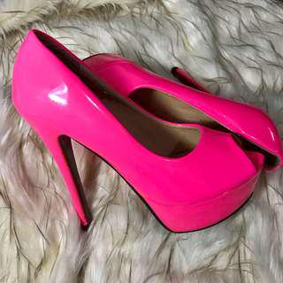 Neon Pink Peep-Toe High Heels