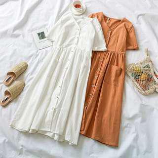 🚚 White V neck Button through midi dress