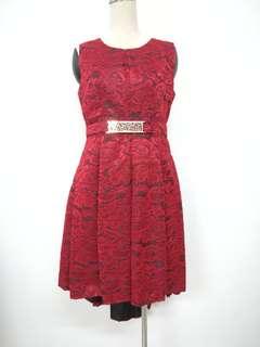 Asymmetrical Lace Red Dress