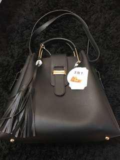 3in1 Vegan Leather Bag in Black BNWT