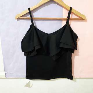 Black Ruffled Crop Top