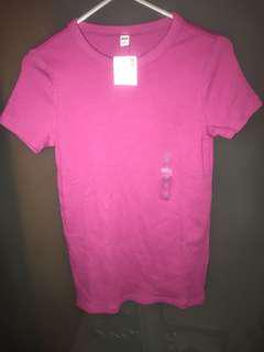 Uniqlo Pink Ribbed Crew Neck Short Sleeve T-Shirt Small