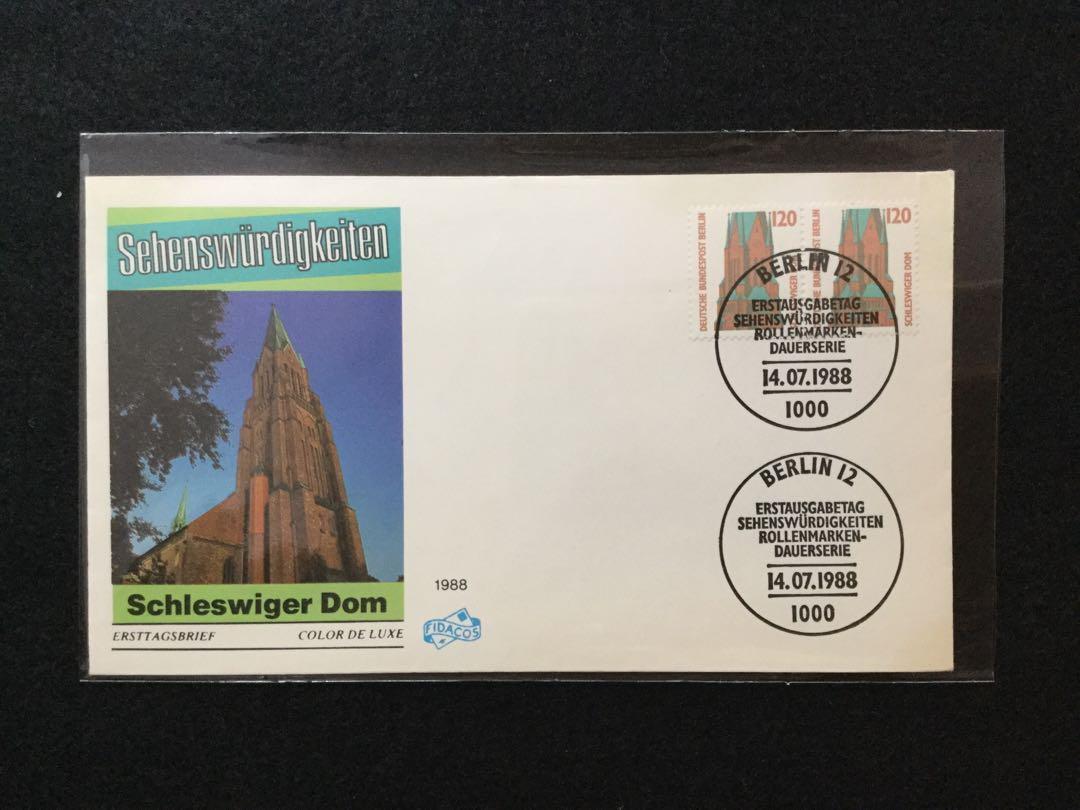 1988 W. Germany - Tourist Sights Series - 120pf - Schleswig Cathedral  First Day Cover (Light Toning)