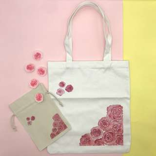 White Canvas Graphic Tote Bag (Roses)