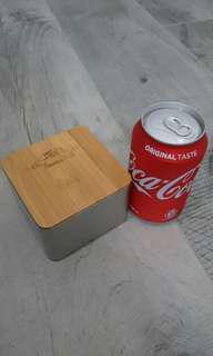 全新 簡約四方小鐵盒連竹蓋