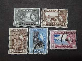 Malaya 1957 Penang Queen Elizabeth II Loose Set Up To $1 - 5v Used Stamps