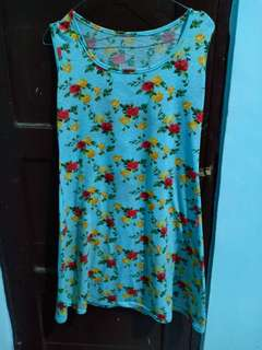 Dress kaos floral bunga