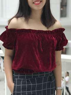 Red velvet off shoulder
