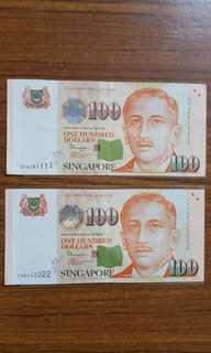 1111 2222 $100 notes