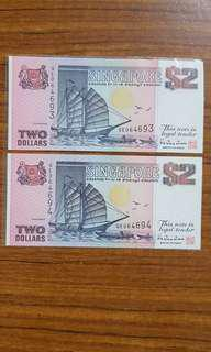 Ship series notes $2 no. 693-694