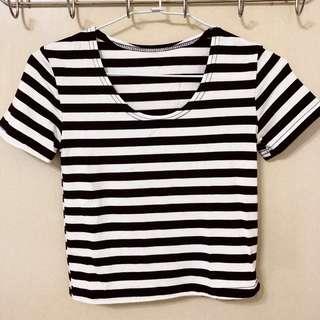 🚚 短版彈性黑白條紋棉T