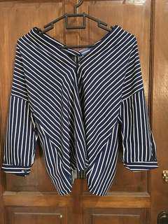 Kemeja Stripe V-neck | Blouse V-neck | Kemeja Hem | Stripe Blouse | Kemeja cewek | Kemeja wanita