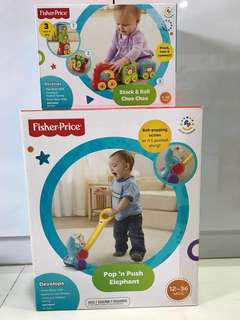 Stack & Roll Choo Choo + Elephant Push Toy