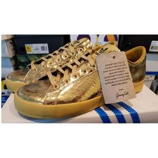 Adidas Jeremy Scott Rod Laver Gold Money Sign Shoes US 9.5 D65861