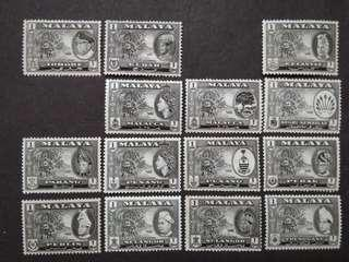 Malaya 1957 1960 Complete 1 Cent For 11 States Short 1961 2v - 13v Mint & 1v Used Stamps