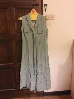 🚚 鄉村綠無袖休閒長洋裝