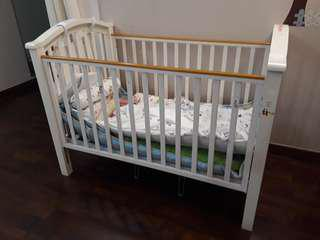 Baby cot crib white solid wood