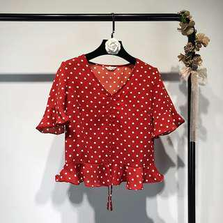 🚚 Red Polka Dots Top