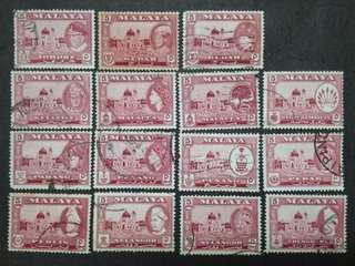 Malaya 1957 1960 1961 4 Cents For 11 States Short 1957 Kelantan - 15v Used Stamps