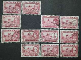 Malaya 1957 1960 1961 4 Cents For 11 States Short 4v - 12v Used Stamps