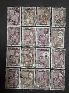Malaya 1957 1960 1961 10 Cents Complete For 11 States - 16v Used Stamps