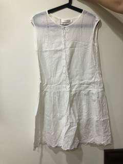 🚚 日系純白洋裝 有內裡