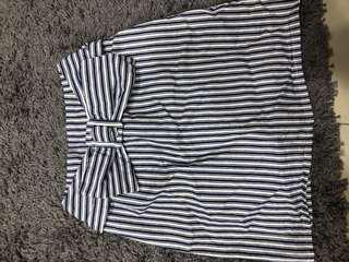 🚚 日系蝴蝶結條紋短裙