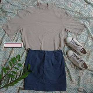 Grey turtle neck with skirt (SET)